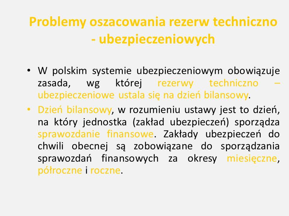 Problemy oszacowania rezerw techniczno - ubezpieczeniowych W polskim systemie ubezpieczeniowym obowiązuje zasada, wg której rezerwy techniczno – ubezp