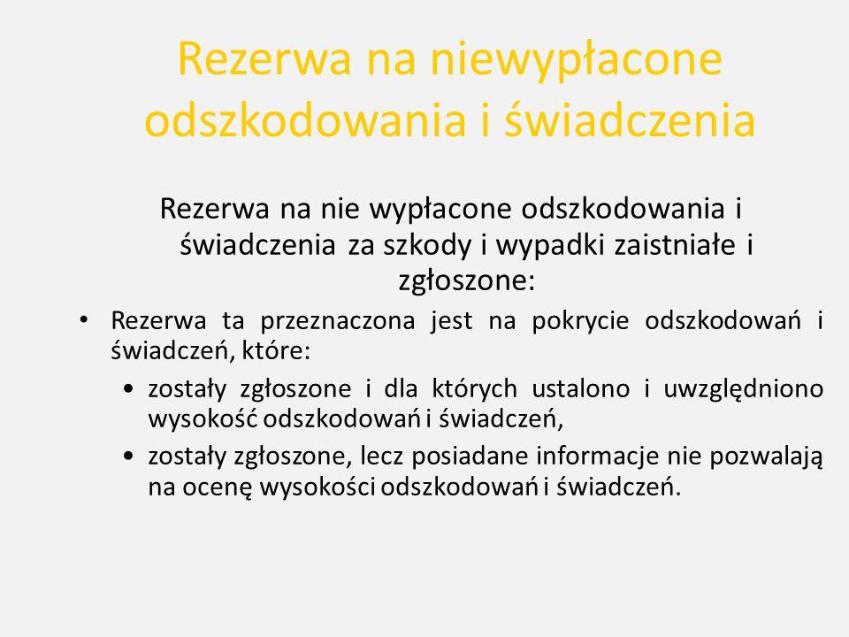 Rezerwa na niewypłacone odszkodowania i świadczenia Rezerwa na nie wypłacone odszkodowania i świadczenia za szkody i wypadki zaistniałe i zgłoszone: R
