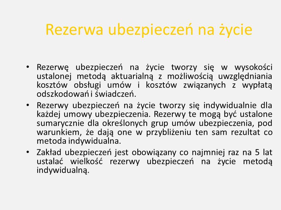Rezerwa ubezpieczeń na życie Rezerwę ubezpieczeń na życie tworzy się w wysokości ustalonej metodą aktuarialną z możliwością uwzględniania kosztów obsł