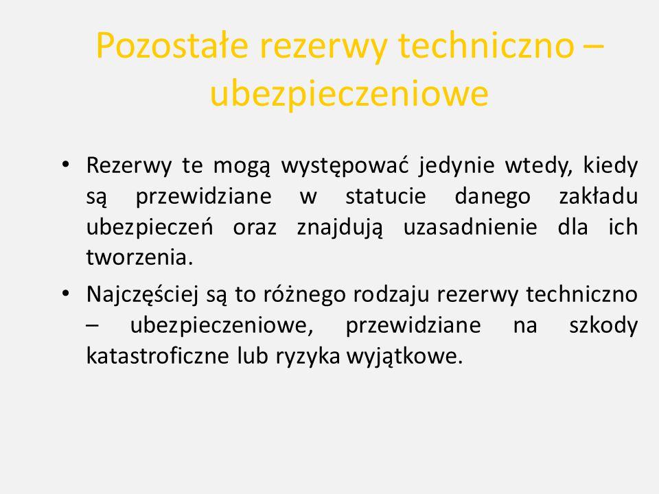 Pozostałe rezerwy techniczno – ubezpieczeniowe Rezerwy te mogą występować jedynie wtedy, kiedy są przewidziane w statucie danego zakładu ubezpieczeń o