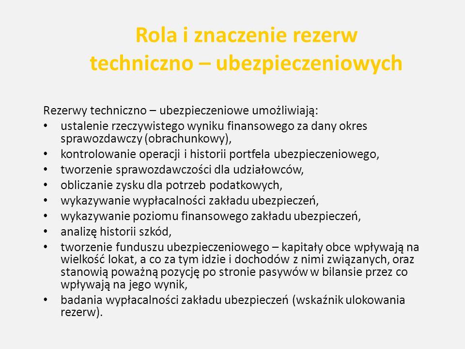 Rola i znaczenie rezerw techniczno – ubezpieczeniowych Rezerwy techniczno – ubezpieczeniowe umożliwiają: ustalenie rzeczywistego wyniku finansowego za