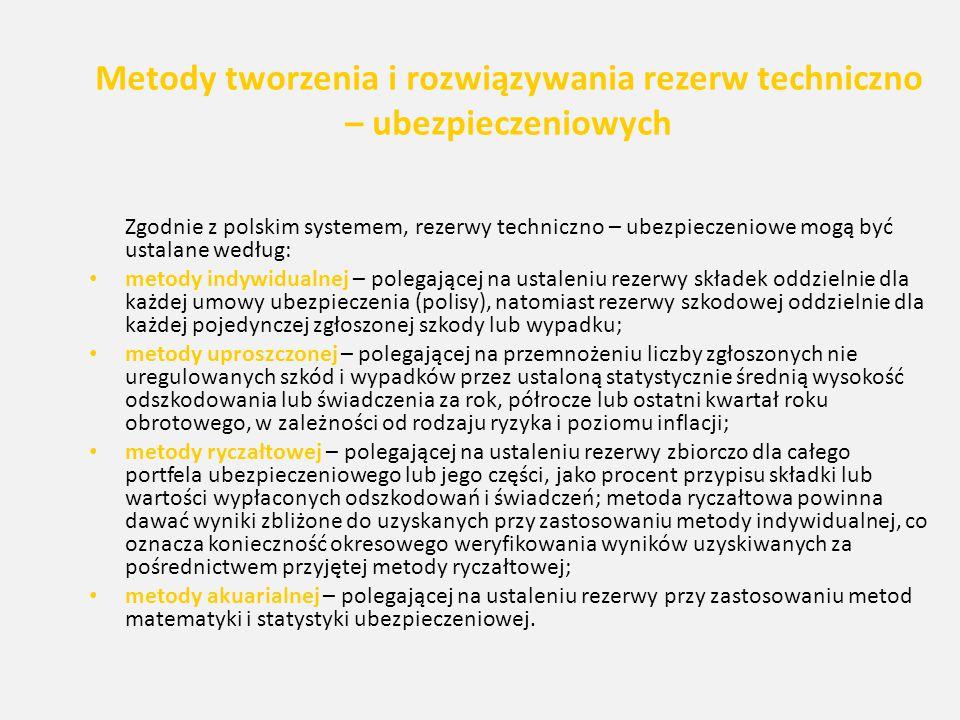 Metody tworzenia i rozwiązywania rezerw techniczno – ubezpieczeniowych Zgodnie z polskim systemem, rezerwy techniczno – ubezpieczeniowe mogą być ustal