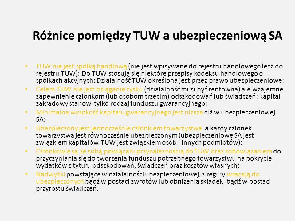 Różnice pomiędzy TUW a ubezpieczeniową SA TUW nie jest spółką handlową (nie jest wpisywane do rejestru handlowego lecz do rejestru TUW); Do TUW stosuj
