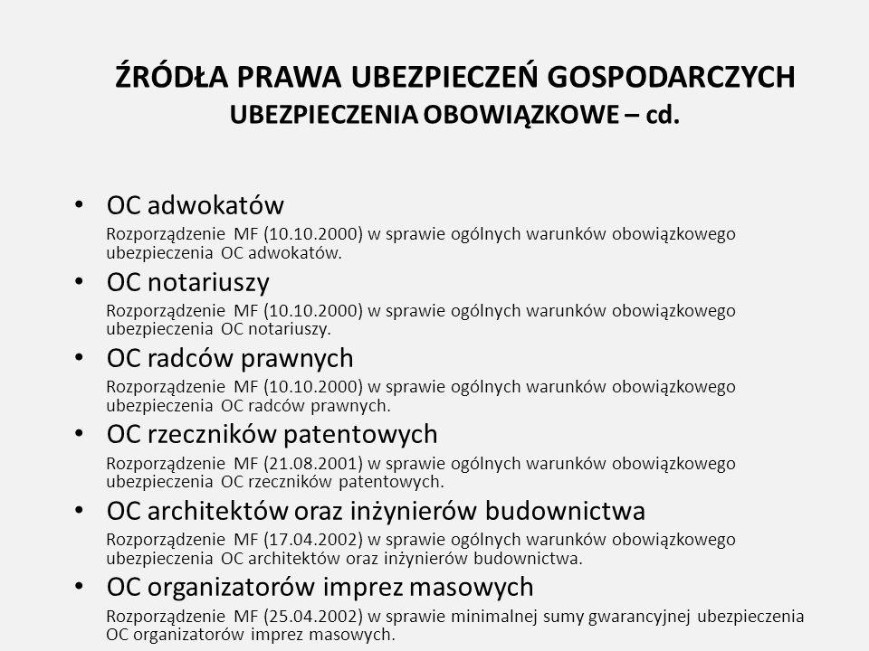 ŹRÓDŁA PRAWA UBEZPIECZEŃ GOSPODARCZYCH UBEZPIECZENIA OBOWIĄZKOWE – cd. OC adwokatów Rozporządzenie MF (10.10.2000) w sprawie ogólnych warunków obowiąz