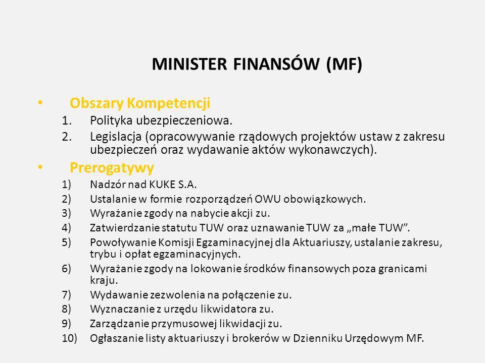 MINISTER FINANSÓW (MF) Obszary Kompetencji 1.Polityka ubezpieczeniowa. 2.Legislacja (opracowywanie rządowych projektów ustaw z zakresu ubezpieczeń ora