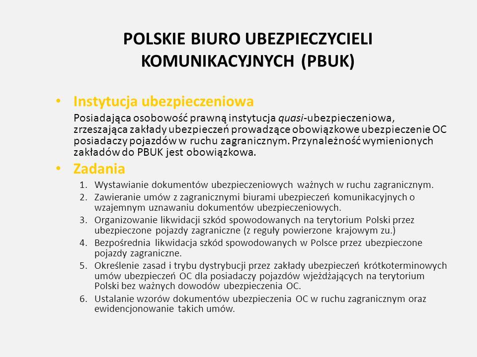 POLSKIE BIURO UBEZPIECZYCIELI KOMUNIKACYJNYCH (PBUK) Instytucja ubezpieczeniowa Posiadająca osobowość prawną instytucja quasi-ubezpieczeniowa, zrzesza