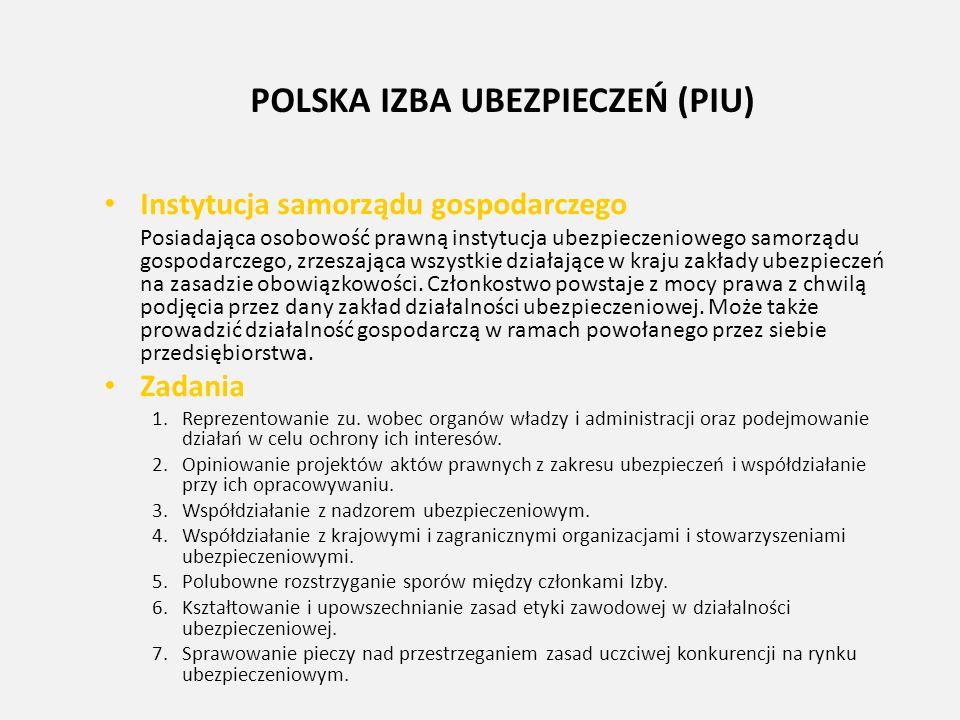 POLSKA IZBA UBEZPIECZEŃ (PIU) Instytucja samorządu gospodarczego Posiadająca osobowość prawną instytucja ubezpieczeniowego samorządu gospodarczego, zr
