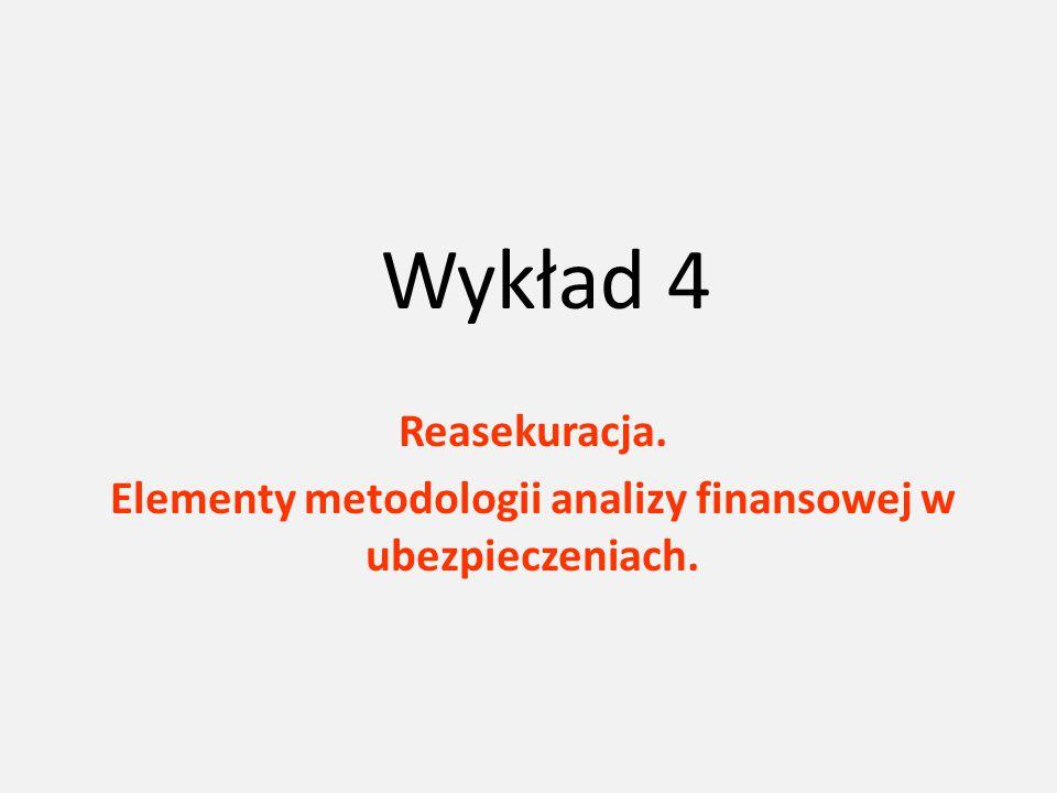 Wykład 4 Reasekuracja. Elementy metodologii analizy finansowej w ubezpieczeniach.