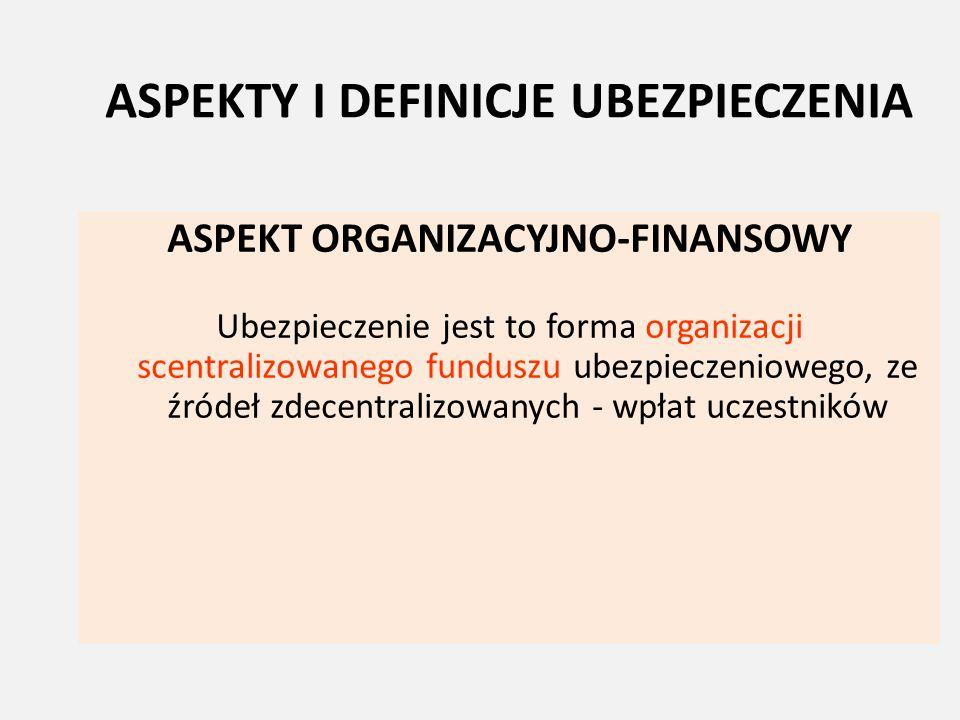 ASPEKTY I DEFINICJE UBEZPIECZENIA ASPEKT ORGANIZACYJNO-FINANSOWY Ubezpieczenie jest to forma organizacji scentralizowanego funduszu ubezpieczeniowego,