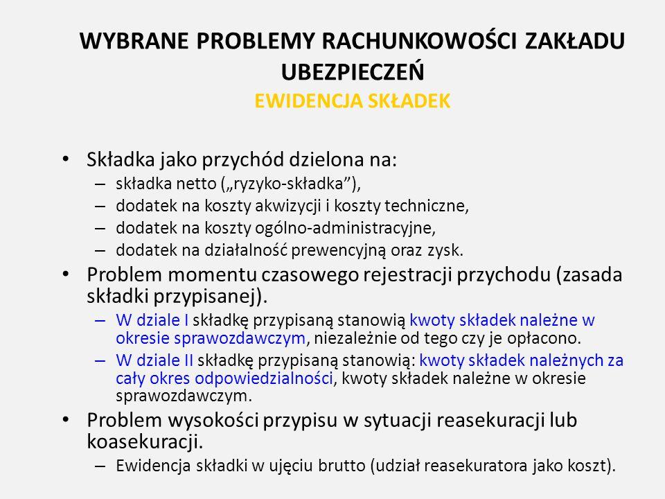 """WYBRANE PROBLEMY RACHUNKOWOŚCI ZAKŁADU UBEZPIECZEŃ EWIDENCJA SKŁADEK Składka jako przychód dzielona na: – składka netto (""""ryzyko-składka""""), – dodatek"""