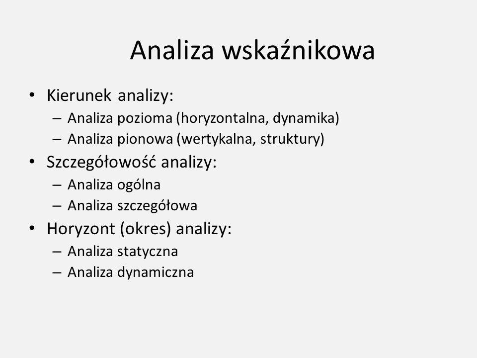 Analiza wskaźnikowa Kierunek analizy: – Analiza pozioma (horyzontalna, dynamika) – Analiza pionowa (wertykalna, struktury) Szczegółowość analizy: – An