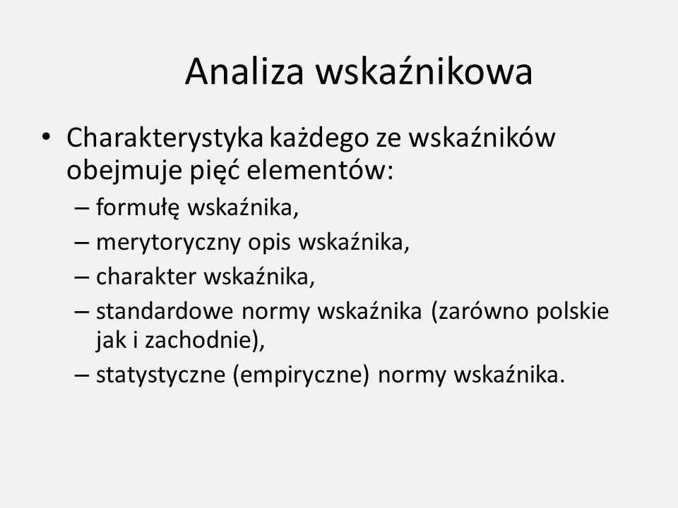 Analiza wskaźnikowa Charakterystyka każdego ze wskaźników obejmuje pięć elementów: – formułę wskaźnika, – merytoryczny opis wskaźnika, – charakter wsk
