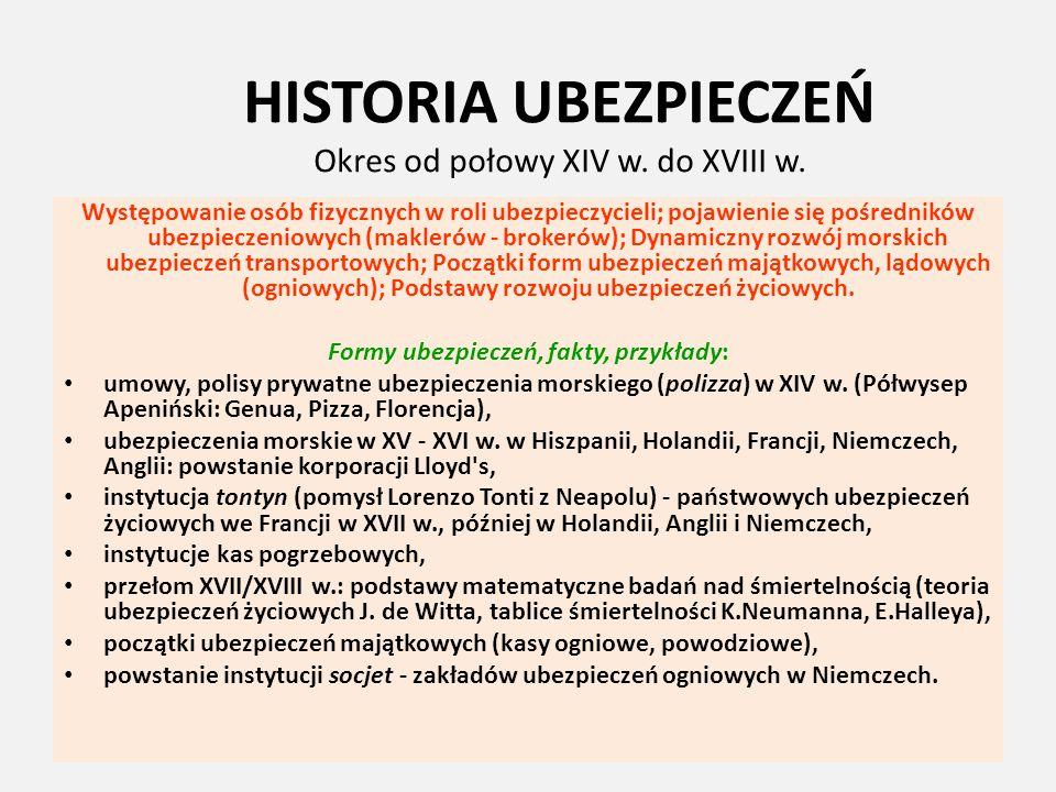 HISTORIA UBEZPIECZEŃ Okres od połowy XIV w. do XVIII w. Występowanie osób fizycznych w roli ubezpieczycieli; pojawienie się pośredników ubezpieczeniow