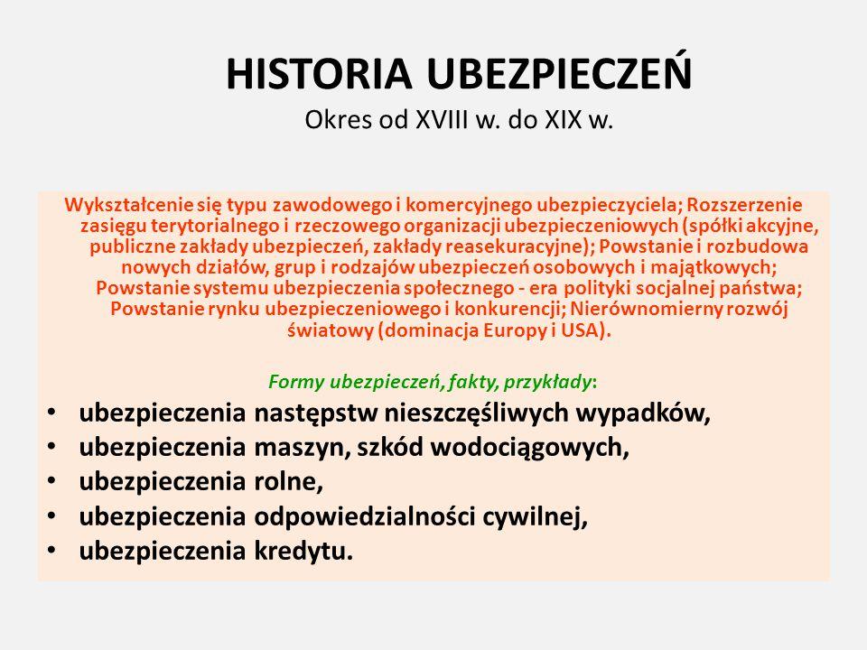 HISTORIA UBEZPIECZEŃ Okres od XVIII w. do XIX w. Wykształcenie się typu zawodowego i komercyjnego ubezpieczyciela; Rozszerzenie zasięgu terytorialnego