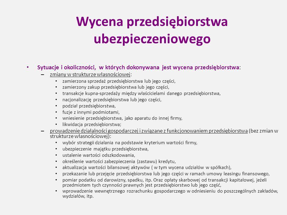 Wycena przedsiębiorstwa ubezpieczeniowego Sytuacje i okoliczności, w których dokonywana jest wycena przedsiębiorstwa: – zmiany w strukturze własnościo