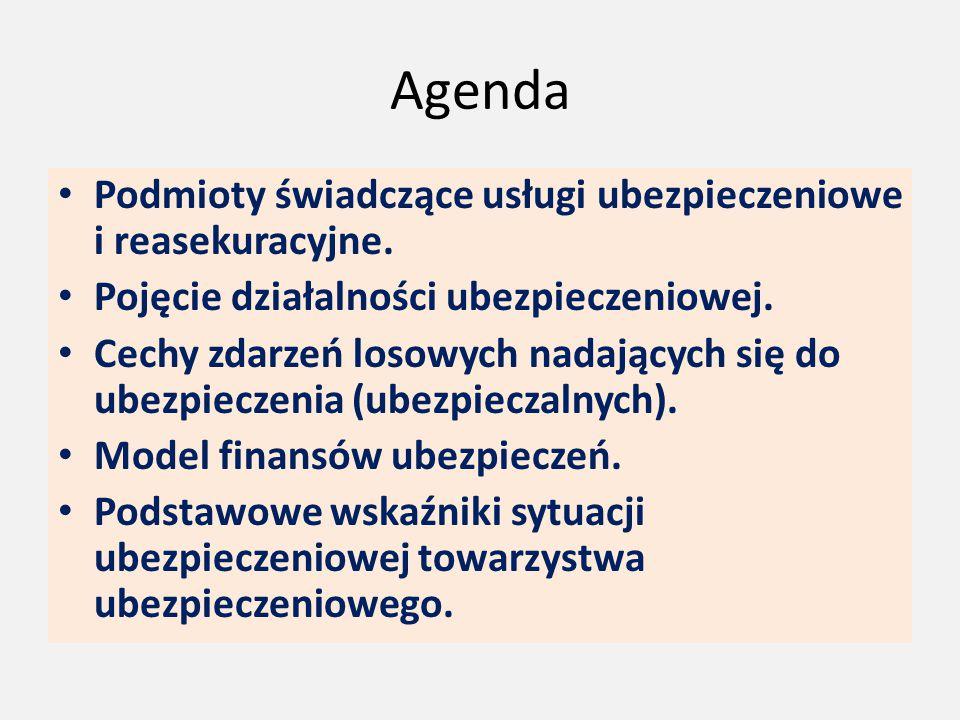 Agenda Podmioty świadczące usługi ubezpieczeniowe i reasekuracyjne. Pojęcie działalności ubezpieczeniowej. Cechy zdarzeń losowych nadających się do ub