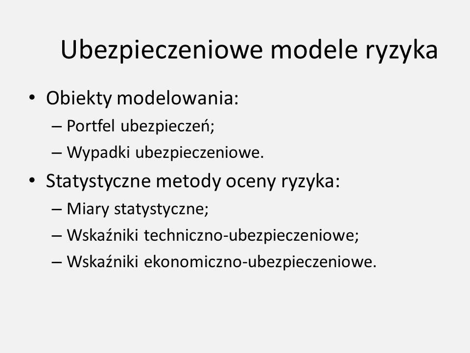 Ubezpieczeniowe modele ryzyka Obiekty modelowania: – Portfel ubezpieczeń; – Wypadki ubezpieczeniowe. Statystyczne metody oceny ryzyka: – Miary statyst