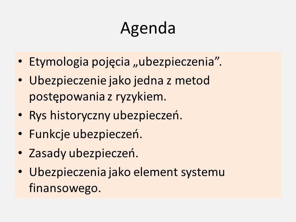 """Agenda Etymologia pojęcia """"ubezpieczenia"""". Ubezpieczenie jako jedna z metod postępowania z ryzykiem. Rys historyczny ubezpieczeń. Funkcje ubezpieczeń."""