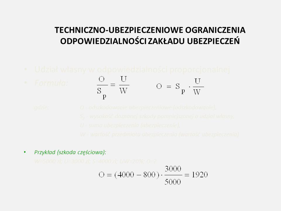 TECHNICZNO-UBEZPIECZENIOWE OGRANICZENIA ODPOWIEDZIALNOŚCI ZAKŁADU UBEZPIECZEŃ Udział własny w odpowiedzialności proporcjonalnej Formuła: gdzie:O - ods