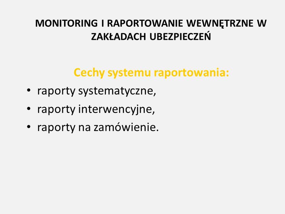 MONITORING I RAPORTOWANIE WEWNĘTRZNE W ZAKŁADACH UBEZPIECZEŃ Cechy systemu raportowania: raporty systematyczne, raporty interwencyjne, raporty na zamó