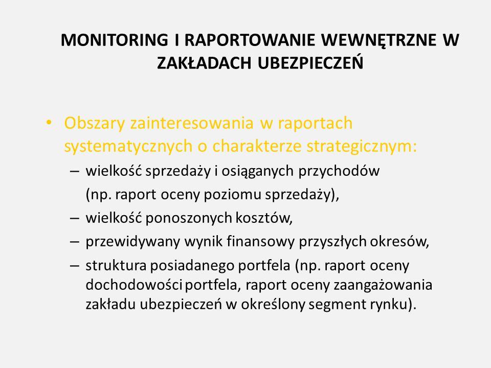 MONITORING I RAPORTOWANIE WEWNĘTRZNE W ZAKŁADACH UBEZPIECZEŃ Obszary zainteresowania w raportach systematycznych o charakterze strategicznym: – wielko