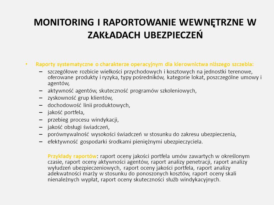 MONITORING I RAPORTOWANIE WEWNĘTRZNE W ZAKŁADACH UBEZPIECZEŃ Raporty systematyczne o charakterze operacyjnym dla kierownictwa niższego szczebla: – szc