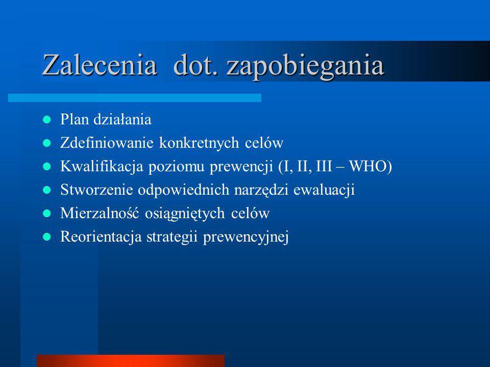 Zalecenia dot. zapobiegania Plan działania Zdefiniowanie konkretnych celów Kwalifikacja poziomu prewencji (I, II, III – WHO) Stworzenie odpowiednich n