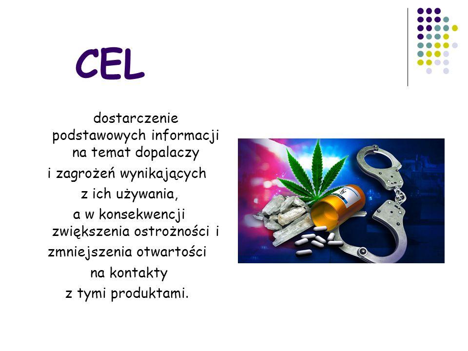 CEL dostarczenie podstawowych informacji na temat dopalaczy i zagrożeń wynikających z ich używania, a w konsekwencji zwiększenia ostrożności i zmniejszenia otwartości na kontakty z tymi produktami.