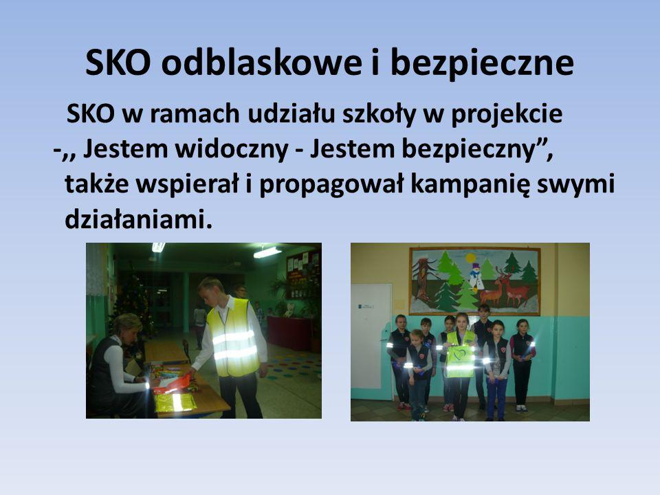 SKO odblaskowe i bezpieczne SKO w ramach udziału szkoły w projekcie -,, Jestem widoczny - Jestem bezpieczny , także wspierał i propagował kampanię swymi działaniami.