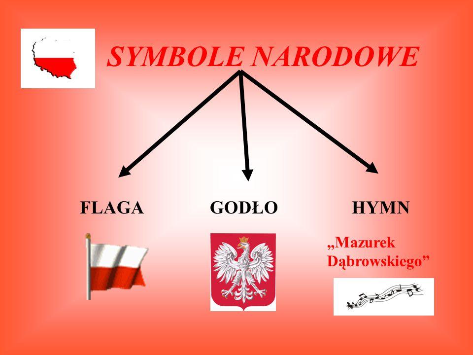 """SYMBOLE NARODOWE FLAGAHYMNGODŁO """"Mazurek Dąbrowskiego"""""""