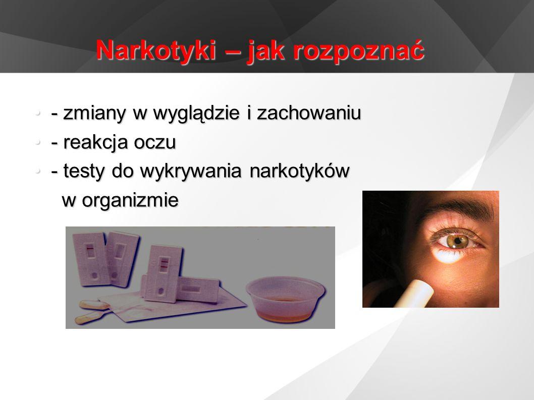 Narkotyki – jak rozpoznać - zmiany w wyglądzie i zachowaniu- zmiany w wyglądzie i zachowaniu - reakcja oczu- reakcja oczu - testy do wykrywania narkot
