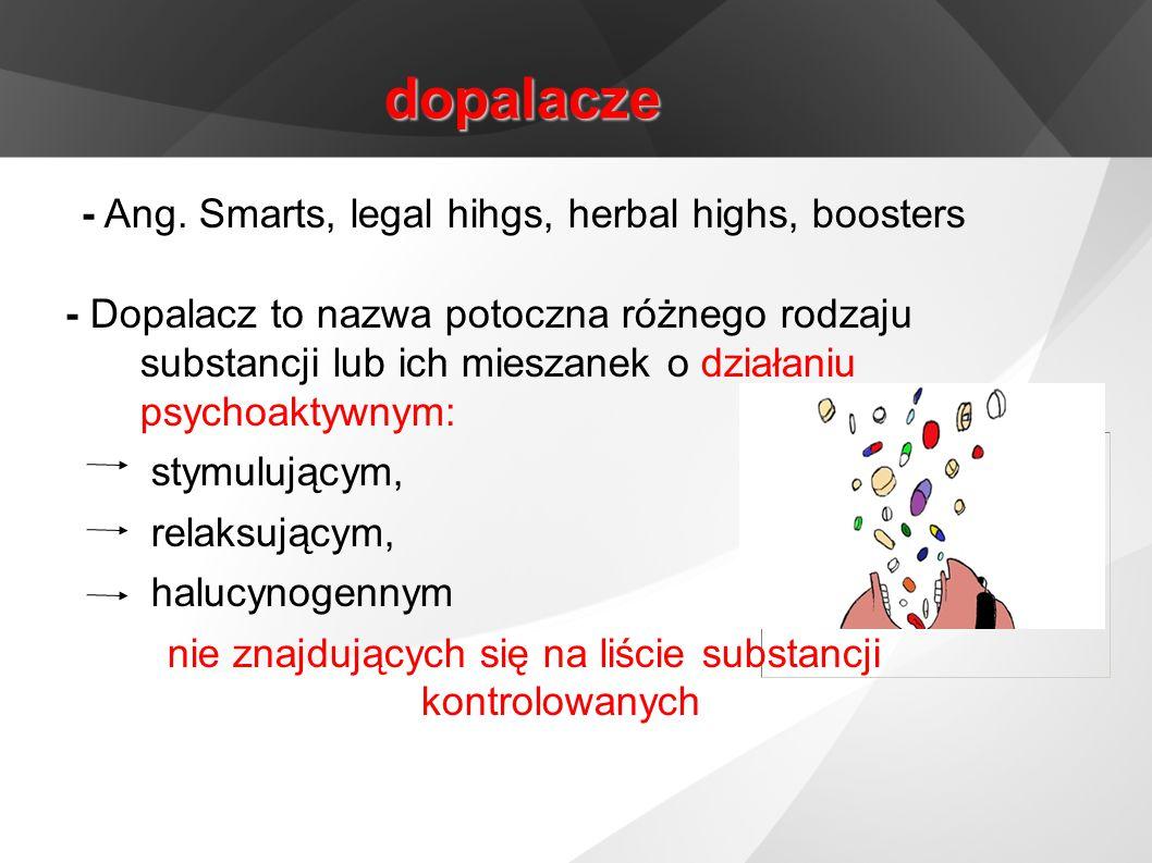dopalacze - Ang. Smarts, legal hihgs, herbal highs, boosters - Dopalacz to nazwa potoczna różnego rodzaju substancji lub ich mieszanek o działaniu psy