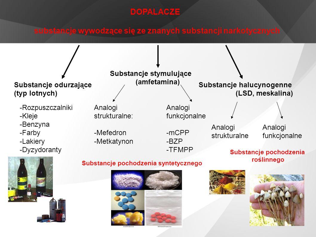 DOPALACZE substancje wywodzące się ze znanych substancji narkotycznych Substancje odurzające (typ lotnych) Substancje stymulujące (amfetamina) Substan