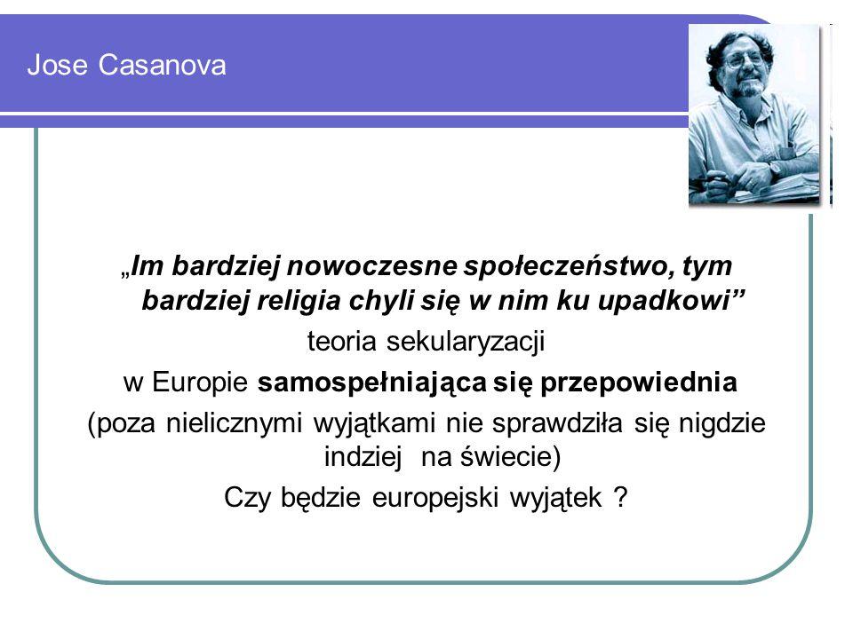 """Jose Casanova """"Im bardziej nowoczesne społeczeństwo, tym bardziej religia chyli się w nim ku upadkowi teoria sekularyzacji w Europie samospełniająca się przepowiednia (poza nielicznymi wyjątkami nie sprawdziła się nigdzie indziej na świecie) Czy będzie europejski wyjątek ?"""
