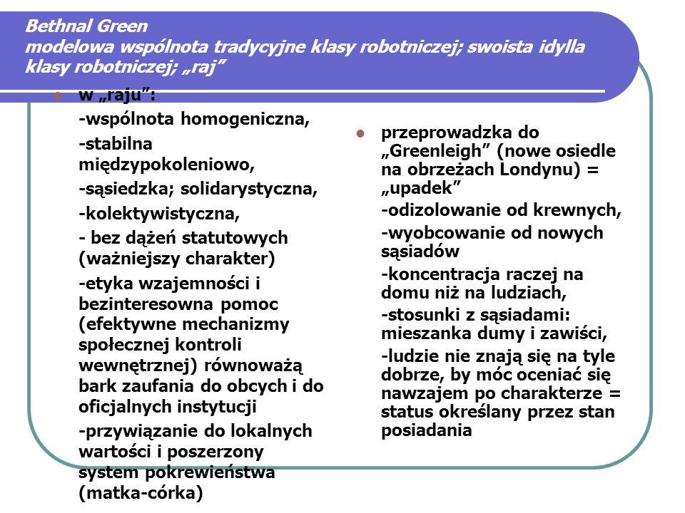 """Bethnal Green modelowa wspólnota tradycyjne klasy robotniczej; swoista idylla klasy robotniczej; """"raj w """"raju : -wspólnota homogeniczna, -stabilna międzypokoleniowo, -sąsiedzka; solidarystyczna, -kolektywistyczna, - bez dążeń statutowych (ważniejszy charakter) -etyka wzajemności i bezinteresowna pomoc (efektywne mechanizmy społecznej kontroli wewnętrznej) równoważą bark zaufania do obcych i do oficjalnych instytucji -przywiązanie do lokalnych wartości i poszerzony system pokrewieństwa (matka-córka) przeprowadzka do """"Greenleigh (nowe osiedle na obrzeżach Londynu) = """"upadek -odizolowanie od krewnych, -wyobcowanie od nowych sąsiadów -koncentracja raczej na domu niż na ludziach, -stosunki z sąsiadami: mieszanka dumy i zawiści, -ludzie nie znają się na tyle dobrze, by móc oceniać się nawzajem po charakterze = status określany przez stan posiadania"""