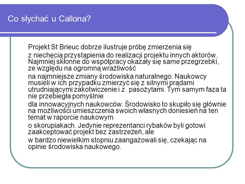 Co słychać u Callona? Projekt St Brieuc dobrze ilustruje próbę zmierzenia się z niechęcią przystąpienia do realizacji projektu innych aktorów. Najmnie