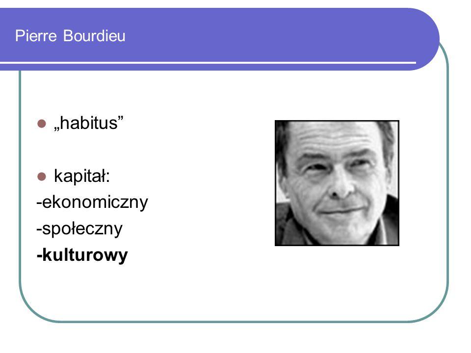 """Pierre Bourdieu """"habitus kapitał: -ekonomiczny -społeczny -kulturowy"""