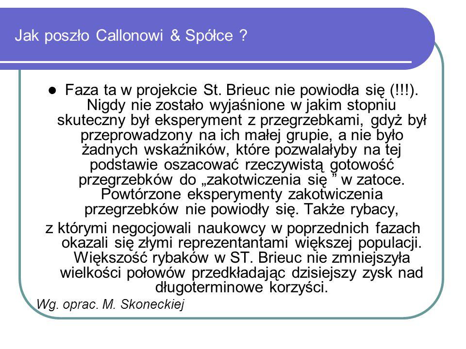 Jak poszło Callonowi & Spółce ? Faza ta w projekcie St. Brieuc nie powiodła się (!!!). Nigdy nie zostało wyjaśnione w jakim stopniu skuteczny był eksp