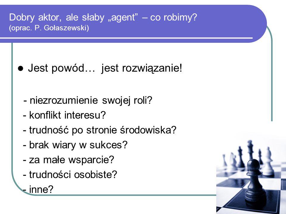 """Dobry aktor, ale słaby """"agent"""" – co robimy? (oprac. P. Gołaszewski) Jest powód… jest rozwiązanie! - niezrozumienie swojej roli? - konflikt interesu? -"""