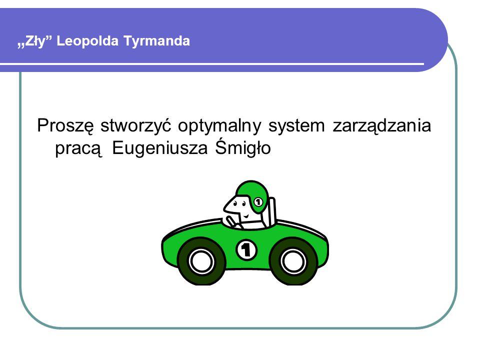 """Proszę stworzyć optymalny system zarządzania pracą Eugeniusza Śmigło """" Zły Leopolda Tyrmanda"""