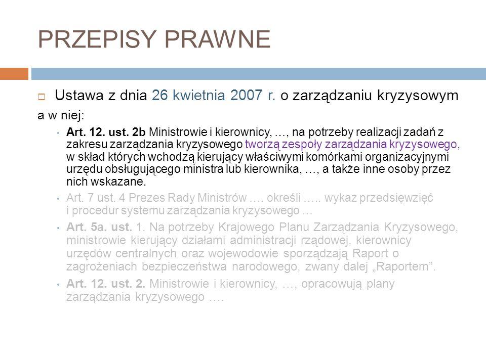 PRZEPISY PRAWNE  Ustawa z dnia 26 kwietnia 2007 r. o zarządzaniu kryzysowym także - Ustawa z dnia 23 lipca 2003 r. o ochronie zabytków i opiece nad z