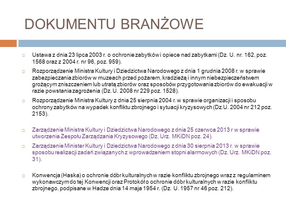 PRZEPISY PRAWNE  Ustawa z dnia 26 kwietnia 2007 r. o zarządzaniu kryzysowym a w niej: Art. 12. ust. 2b Ministrowie i kierownicy, …, na potrzeby reali