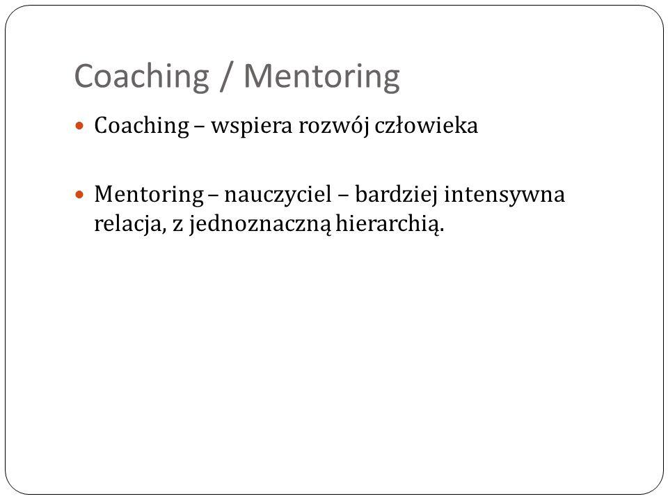 Coaching / Mentoring Coaching – wspiera rozwój człowieka Mentoring – nauczyciel – bardziej intensywna relacja, z jednoznaczną hierarchią.