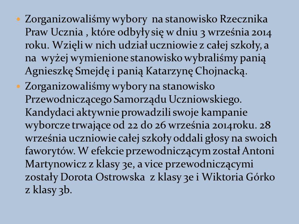 Zorganizowaliśmy wybory na stanowisko Rzecznika Praw Ucznia, które odbyły się w dniu 3 września 2014 roku.