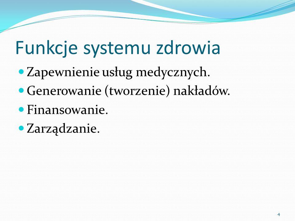 Funkcje systemu zdrowia Zapewnienie usług medycznych. Generowanie (tworzenie) nakładów. Finansowanie. Zarządzanie. 4