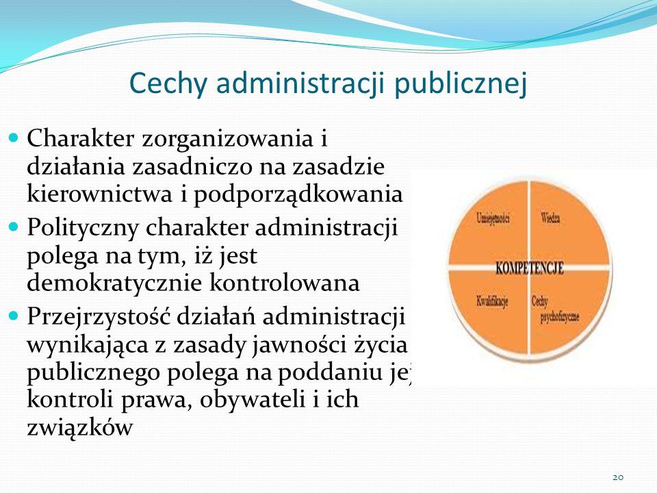 Cechy administracji publicznej Charakter zorganizowania i działania zasadniczo na zasadzie kierownictwa i podporządkowania Polityczny charakter admini