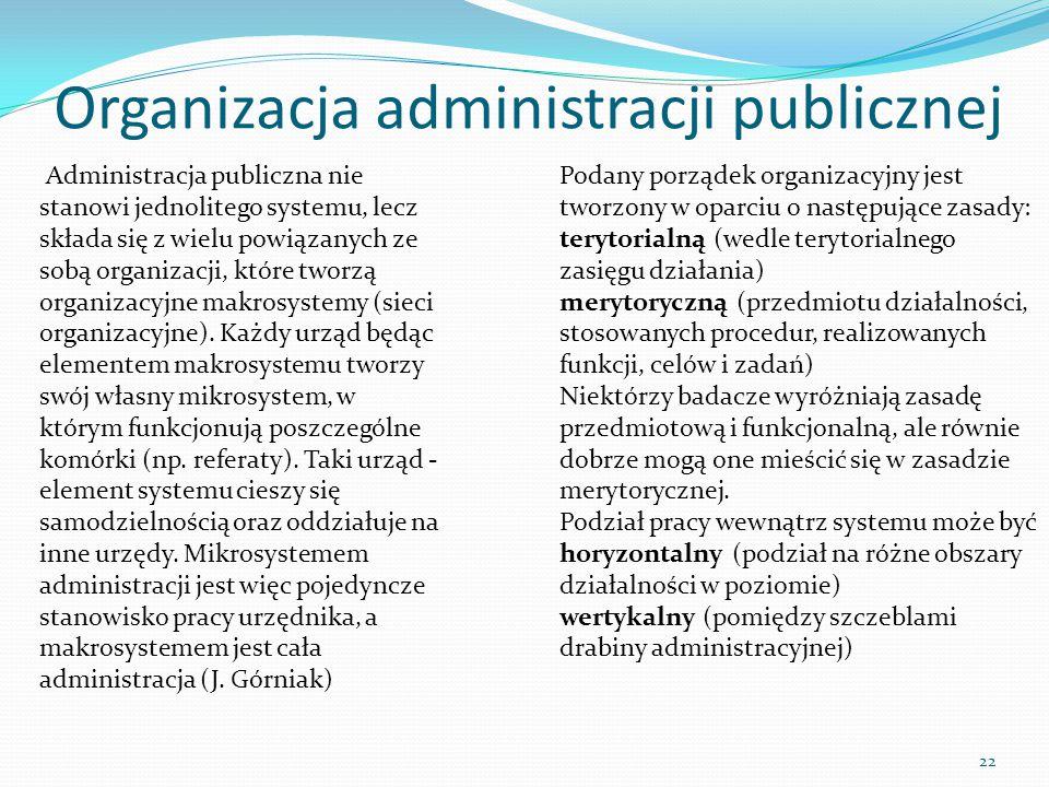 Organizacja administracji publicznej 22 Administracja publiczna nie stanowi jednolitego systemu, lecz składa się z wielu powiązanych ze sobą organizac