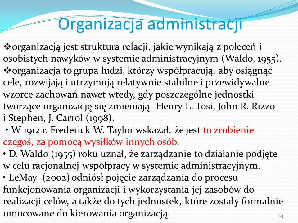 23  organizacją jest struktura relacji, jakie wynikają z poleceń i osobistych nawyków w systemie administracyjnym (Waldo, 1955).  organizacja to gru