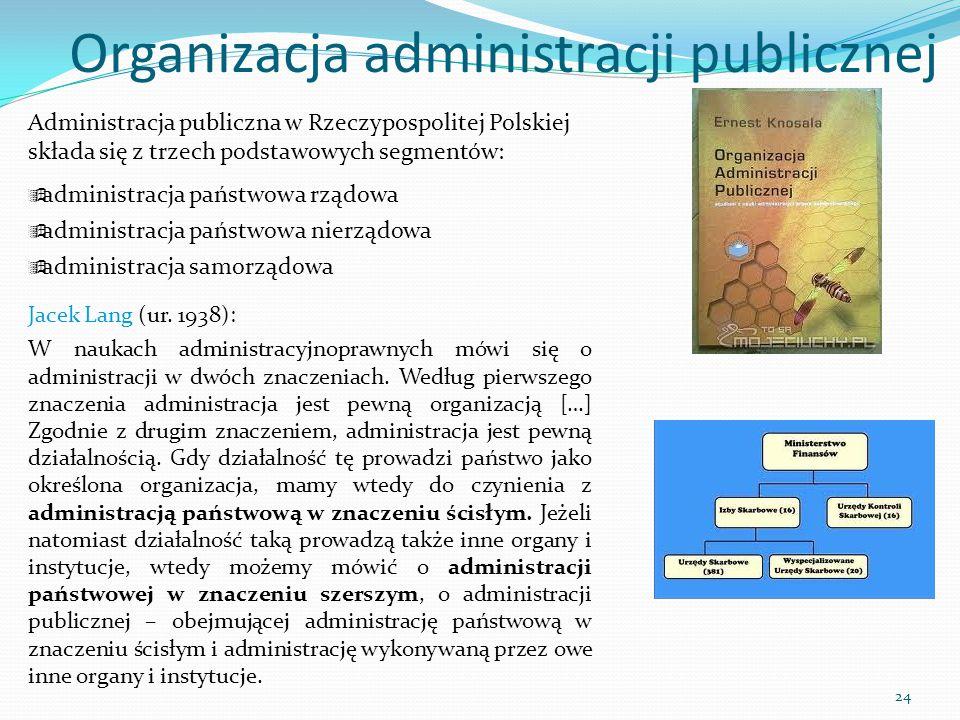 Administracja publiczna w Rzeczypospolitej Polskiej składa się z trzech podstawowych segmentów:  administracja państwowa rządowa  administracja pańs