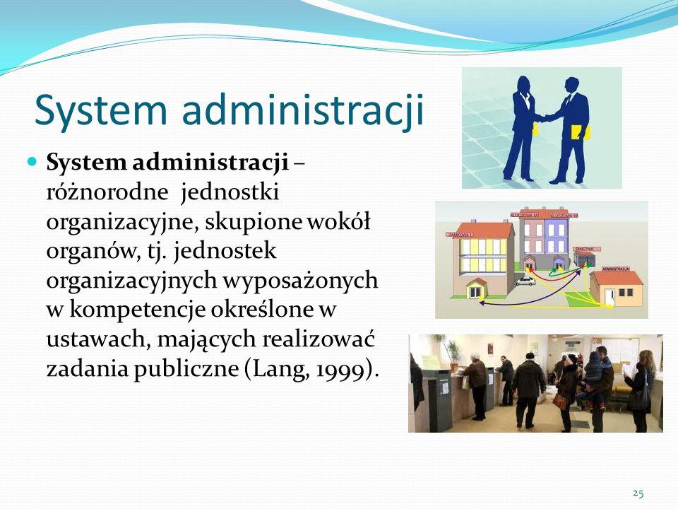 25 System administracji System administracji – różnorodne jednostki organizacyjne, skupione wokół organów, tj. jednostek organizacyjnych wyposażonych